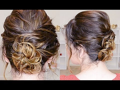 Simple Updo For Curly Hair – Youtube Throughout Easy Curled Prom Updos (View 23 of 25)