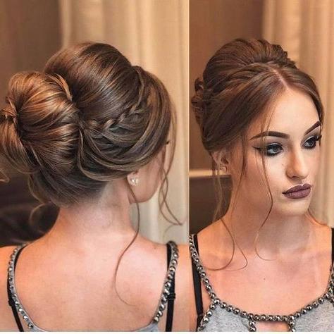Sleek Bun + Accent Braid   Updo   Goldplaited   Hair Styles Regarding Accent Braid Prom Updos (View 13 of 25)