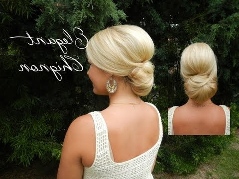 Smooth Elegant Volumized Chignon Without Heat (Long/medium Hair With Volumized Low Chignon Prom Hairstyles (View 21 of 25)