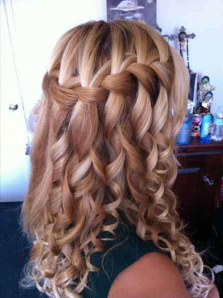 So Pretty | Hair | Curly Hair Styles, Braids With Curls, Curly Throughout Cascading Curly Crown Braid Hairstyles (View 4 of 25)