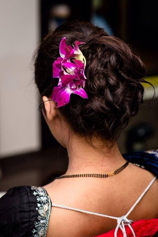 South Indian Bridal Reception Hairstyle Hair Bun With Orchids Inside Side Bun Prom Hairstyles With Orchids (View 6 of 25)