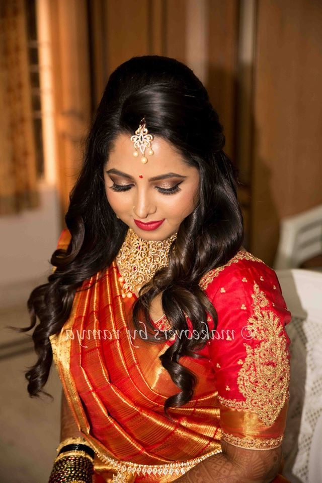 South Indian Bride Reception Hairstyle #south #indian #bride Inside Indian Wedding Long Hairstyles (View 24 of 25)