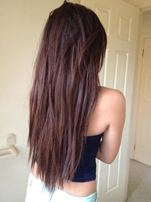 Straight & Choppy Textured Chocolate Brown Long Hairstyle For Girls Within Long Hairstyles Choppy Layers (View 10 of 25)