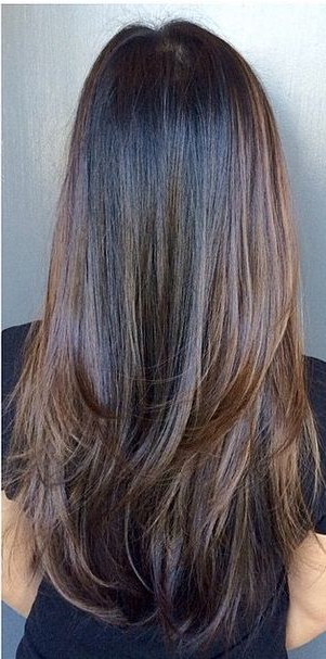 Straight Long Chocolate Brown Hair With Heavy Bottom Layering | Hair Intended For Heavy Layered Long Hairstyles (View 17 of 25)
