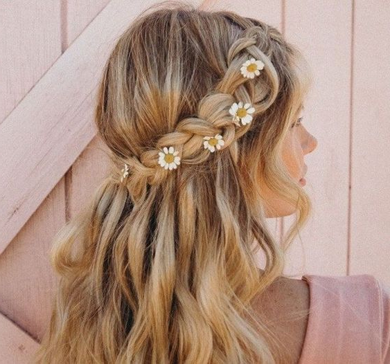 Stylish Prom Hairstyles Half Up Half Down With Regard To Floral Braid Crowns Hairstyles For Prom (View 7 of 25)