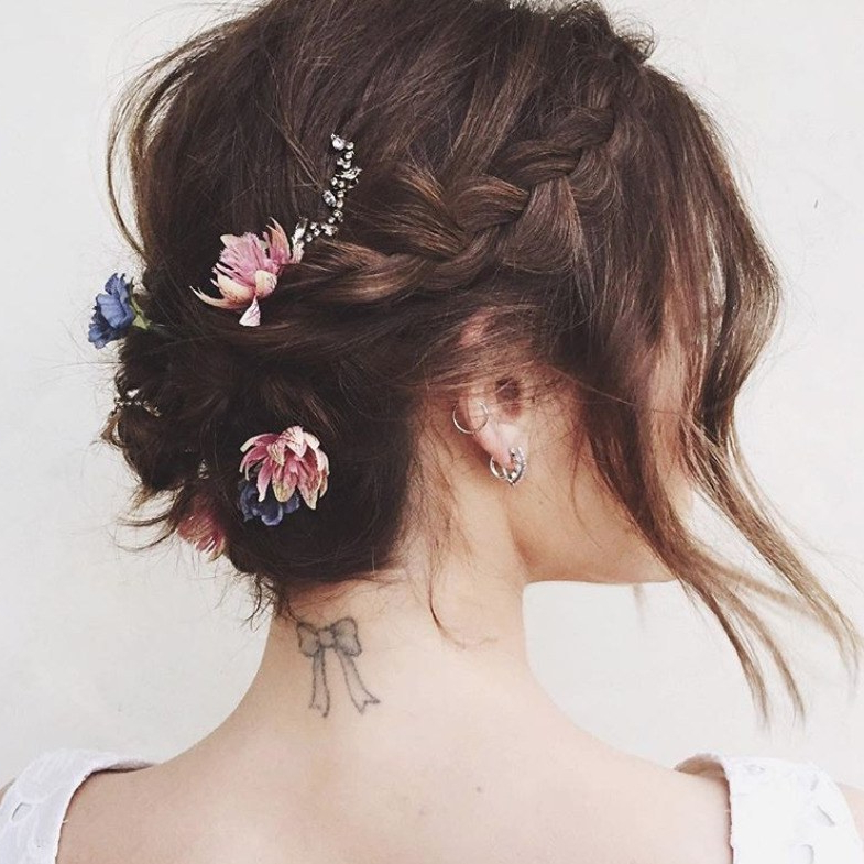 The 20 Best Updos For Short Hair | Glamour Throughout Low Petal Like Bun Prom Hairstyles (View 16 of 25)