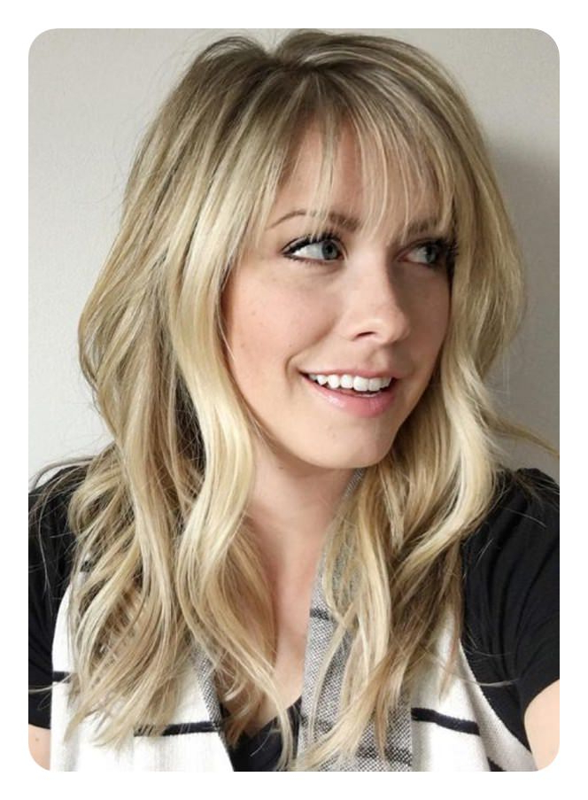 The 79 Sexiest Wispy Bangs To Inspire Your Makeover Inside Side Swept Curls And Draped Bangs Hairstyles (View 25 of 25)