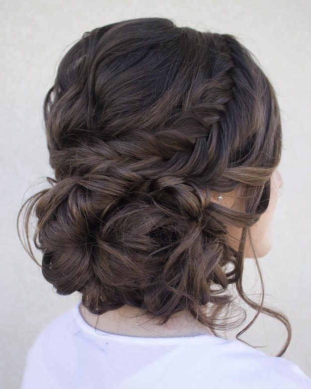 The Twist Around The Crown Of My Head Then Low Messy Bun With Curls In Twisted And Curled Low Prom Updos (View 6 of 25)