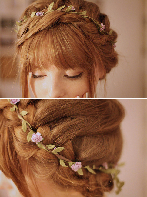 Thin, Simple Flower Crown – You Could Do A Waterfall Carousel Braid Regarding Floral Braid Crowns Hairstyles For Prom (View 2 of 25)