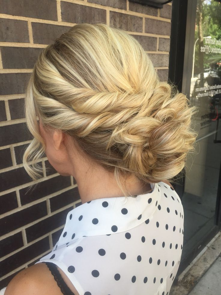 This Elegant Hairstyle Features A Double Twisted Crown + Curly Updo Pertaining To Elegant Twist Updo Prom Hairstyles (View 24 of 25)