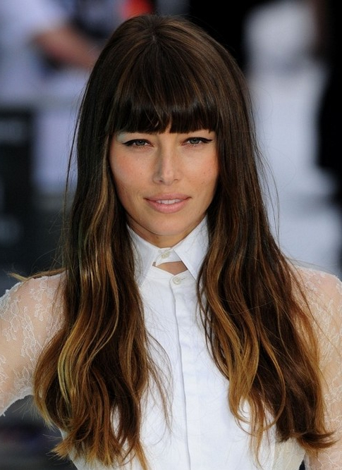 Top 100 Celebrity Hairstyles – Pretty Designs Regarding Long Hairstyles With Straight Bangs (View 21 of 25)