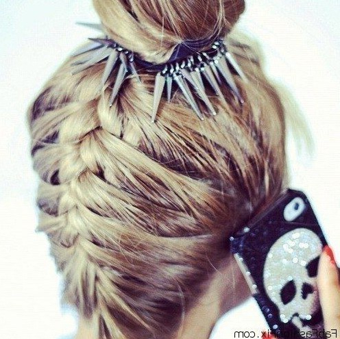 Top 20+ Bun Updos You May Love – Popular Haircuts Pertaining To Upside Down Braid And Bun Prom Hairstyles (View 4 of 25)