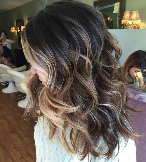 Top Balayage For Dark Hair – Black And Dark Brown Hair Balayage In Long Thick Black Hairstyles With Light Brown Balayage (View 21 of 25)