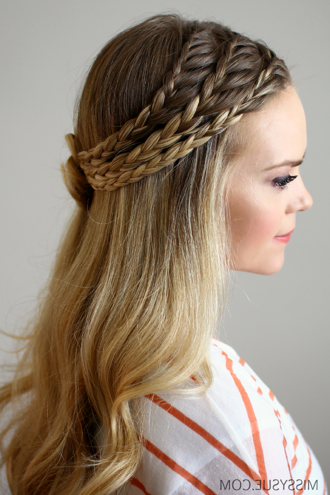 Triple Lace Braided Rosette Regarding Rosette Curls Prom Hairstyles (View 23 of 25)