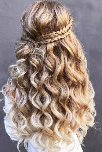 Try 42 Half Up Half Down Prom Hairstyles | Lovehairstyles Pertaining To Double Crown Braid Prom Hairstyles (View 15 of 25)