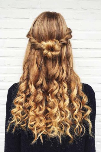 Try 42 Half Up Half Down Prom Hairstyles   Lovehairstyles Pertaining To Rosette Curls Prom Hairstyles (View 9 of 25)
