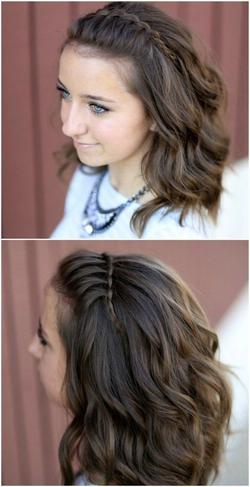 Tutorial: Waterfall Braid Half Updo | Hair | Hair Styles, Braids For For Half Prom Updos With Bangs And Braided Headband (View 7 of 25)