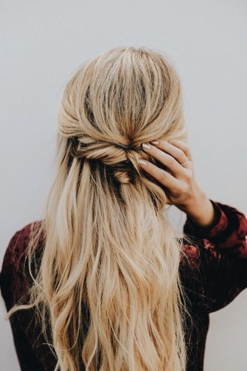 Twisted Braid Half Up Half Down Pulled Back Blonde Hair | Beauty In In Long Hairstyles Half Pulled Back (View 12 of 25)