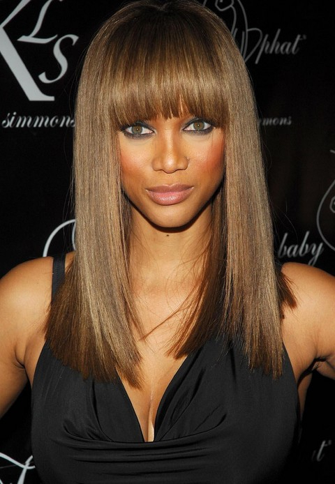 Tyra Banks' Long Hairstyle: Straight Hairstyle With Blunt Bangs For Intended For Long Hairstyles With Bangs For Black Women (View 4 of 25)