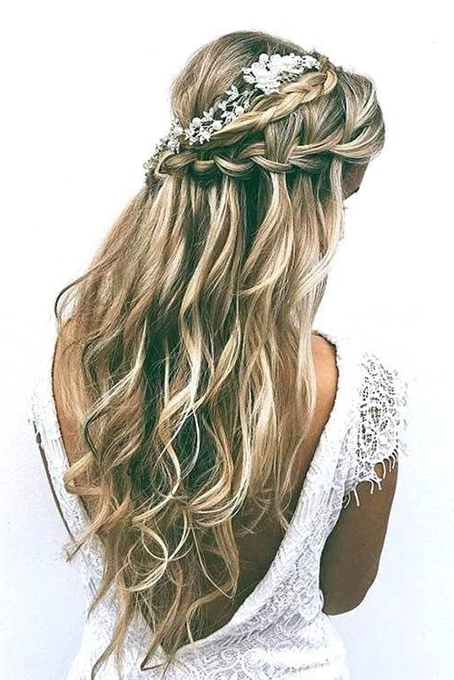Unique Wedding Hairstyles Half Up Half Down With Braid Wedding Regarding Half Prom Updos With Bangs And Braided Headband (View 10 of 25)