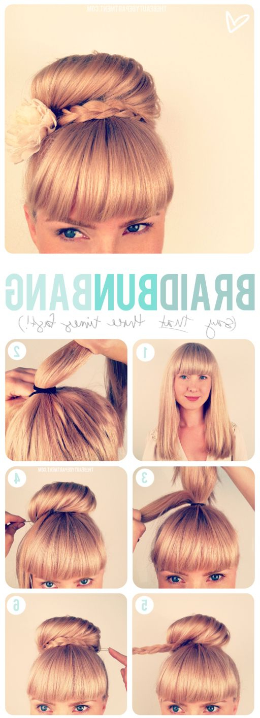 Updo + Bangs | Mane Attraction | Hair, Hair Styles, Braided Bun Within Updo For Long Hair With Bangs (View 10 of 25)