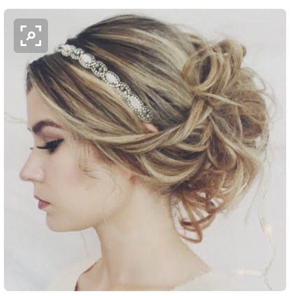Updo With Headband | Lexi Prom In 2019 | Prom Hair Updo, Headband Within Teased Prom Updos With Cute Headband (View 2 of 25)