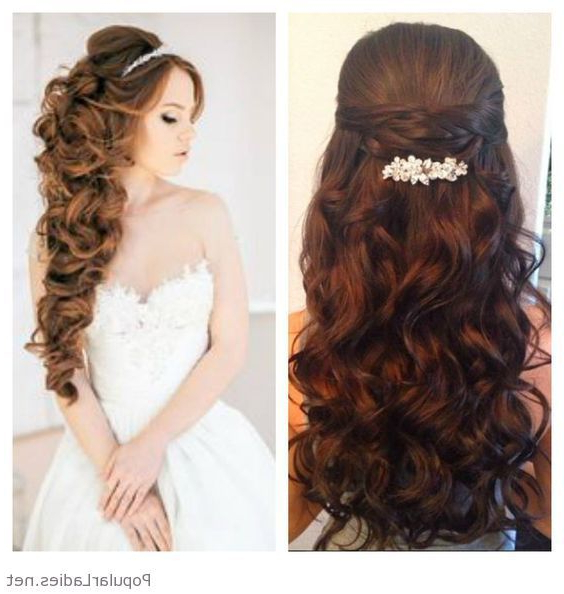 Very Long Curly Hair With An Accessory For The Bride In 2019 Pertaining To Long Curly Quinceanera Hairstyles (View 19 of 25)
