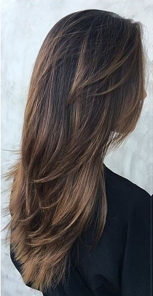 Warm Cocoa Brunette Highlights | Long Hairstyles | Hair Cuts Inside Choppy Layers Long Hairstyles With Highlights (View 2 of 25)
