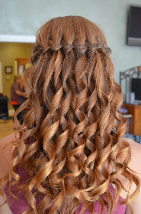 Waterfall Braid With Curled Hair! | Hair | Hair Styles, Curly Hair With Regard To Cascading Curly Crown Braid Hairstyles (View 3 of 25)