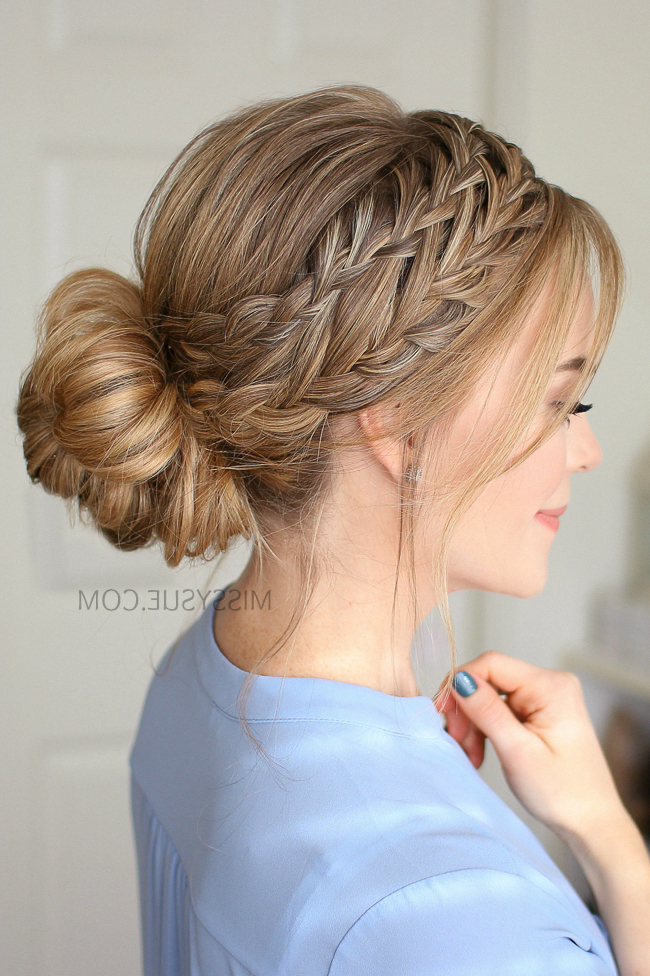 Waterfall French Braid Low Bun   Missy Sue Inside Bun And Three Side Braids Prom Updos (View 6 of 25)