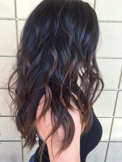 Wavy Black Long Layered Hairstyles 2017 With Chocolate Brown In Black Long Layered Hairstyles (View 21 of 25)