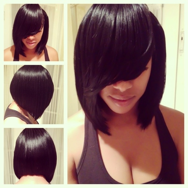 Weave Bob Hairstyles With Bangs — Classic Style : Elegant Weave Bob Intended For Long Bob Hairstyles With Bangs Weave (View 9 of 25)
