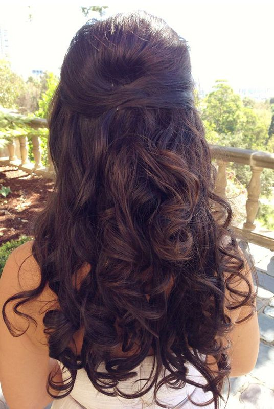 Wedding Hair Inspiration ~ Loose Wavy/curls~ Pulled Back & Decorated Throughout Long Hairstyles Half Pulled Back (View 16 of 25)