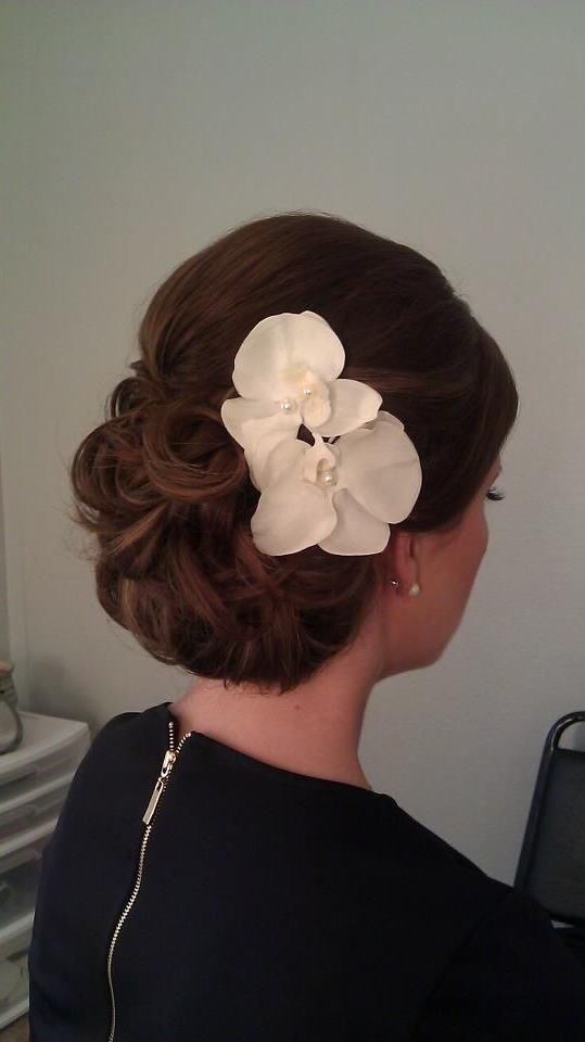 Wedding Hair Updo With Phalaenopsis Orchids   Wedding Hair Styles In Throughout Side Bun Prom Hairstyles With Orchids (View 16 of 25)