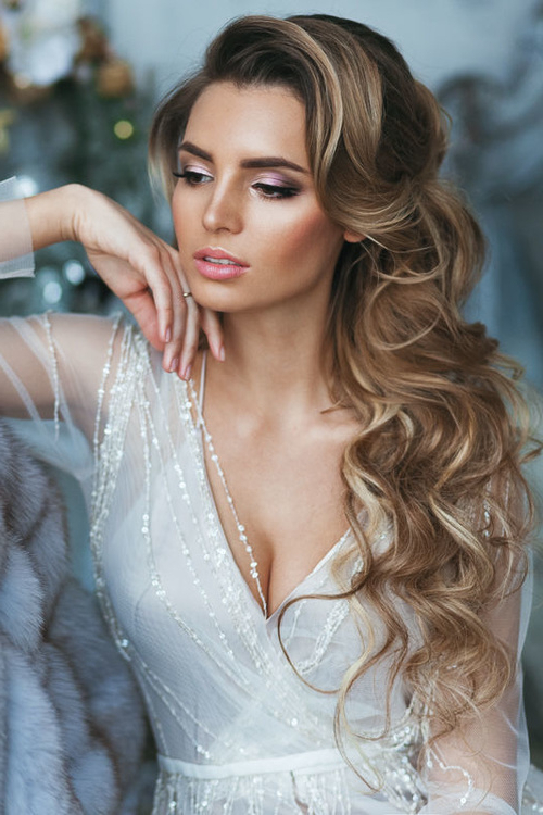 Wedding Hairstyles Curls Down Ideas For Brides | Elstyle With Long Hairstyles Down For Wedding (View 17 of 25)