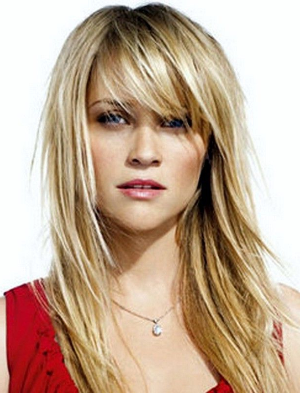 Wispy Fringe Bangs Haircut Round Face Layers Hairstyles 2015 Intended For Round Face Long Hairstyles With Bangs (View 19 of 25)