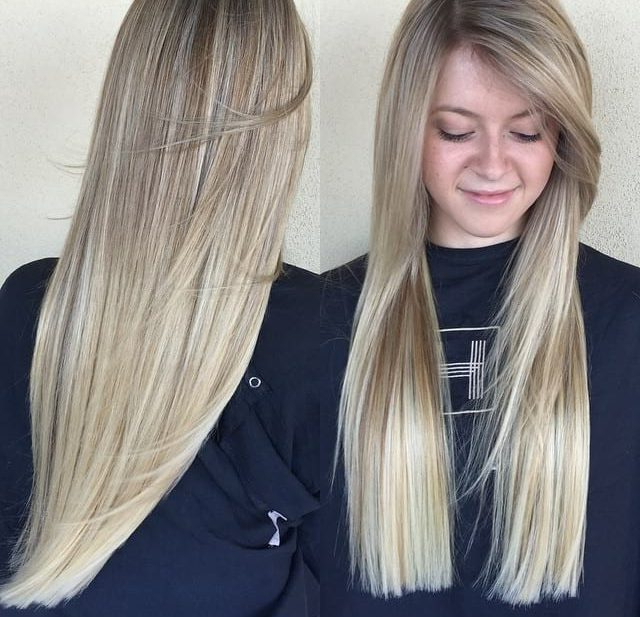 Women's Blonde Blunt Cut With Long Side Swept Front Layers And Regarding Blunt Cut Long Hairstyles (View 11 of 25)