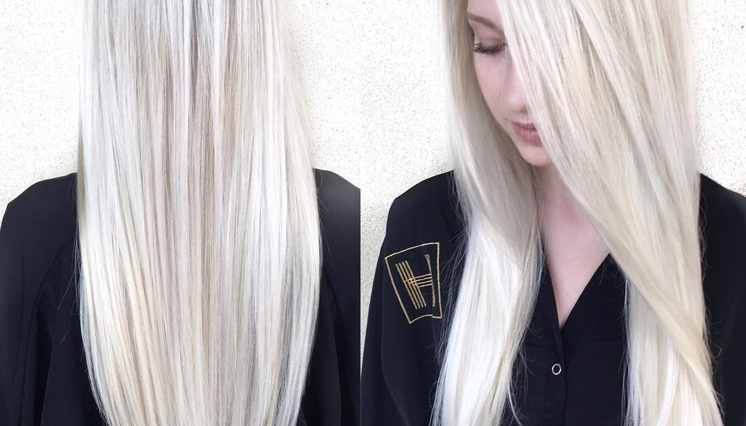 Women's Sleek Platinum Blonde Hair With Side Part And V Cut Layers Inside Long Hairstyles V Cut (View 23 of 25)