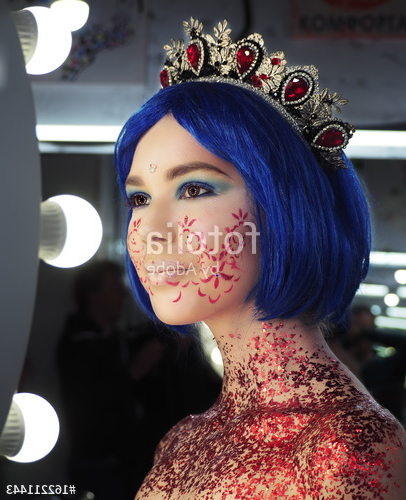 Young Girl Model In The Art Make Up Like Princess In A Crown From For Princess Like Side Prom Downdos (View 9 of 25)