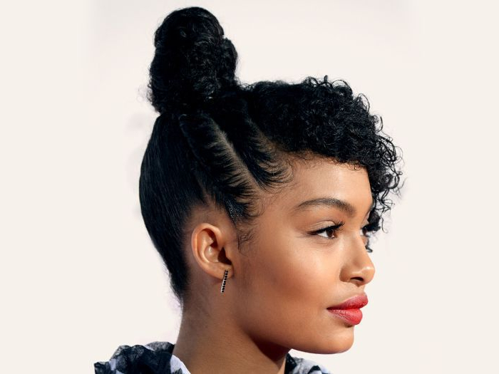 10 Celebrity Inspired Topknot Hairstyles To Try For New Year Pertaining To Best And Newest Braided Topknot Hairstyles With Beads (View 14 of 25)