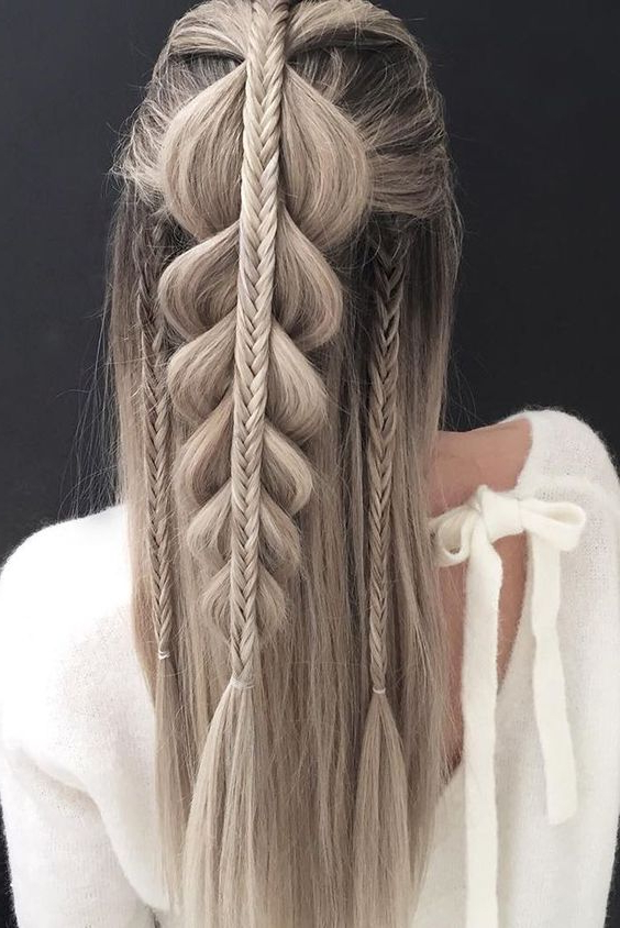 10 Easy Stylish Braided Hairstyles For Long Hair 2019 Intended For Latest Blonde Asymmetrical Pigtails Braid Hairstyles (View 4 of 25)