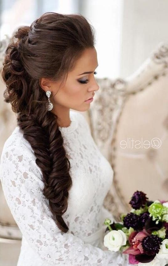 10 Pretty Braided Hairstyles For Wedding – Wedding Hair Inside Most Recently Over The Shoulder Mermaid Braid Hairstyles (View 9 of 25)