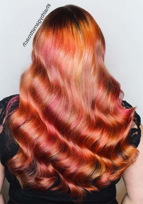 100 Badass Red Hair Colors: Auburn, Cherry, Copper, Burgundy For Current Red, Orange And Yellow Half Updo Hairstyles (View 15 of 25)