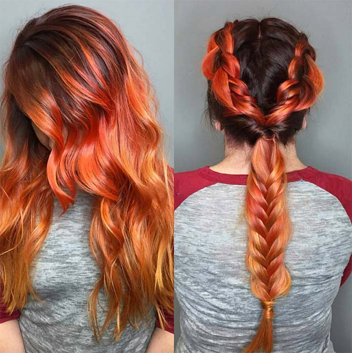 100 Badass Red Hair Colors: Auburn, Cherry, Copper, Burgundy For Latest Red, Orange And Yellow Half Updo Hairstyles (View 10 of 25)