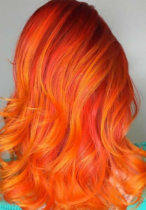 100 Badass Red Hair Colors: Auburn, Cherry, Copper, Burgundy With 2018 Red, Orange And Yellow Half Updo Hairstyles (View 9 of 25)