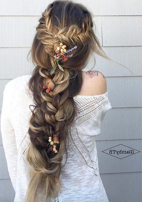 100 Ridiculously Awesome Braided Hairstyles To Inspire You Pertaining To Recent Mermaid Fishtail Hairstyles With Hair Flowers (View 3 of 25)