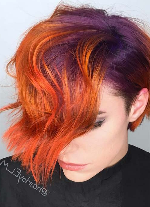 100 Short Hairstyles For Women: Pixie, Bob, Undercut Hair With Most Up To Date Red, Orange And Yellow Half Updo Hairstyles (View 19 of 25)