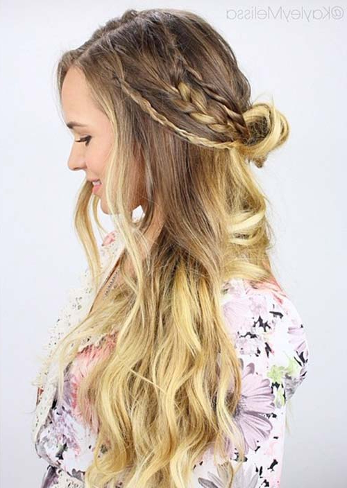 100 Trendy Long Hairstyles For Women To Try In 2017 For Most Up To Date Pretty Pinned Back Half Updo Braids (View 6 of 25)