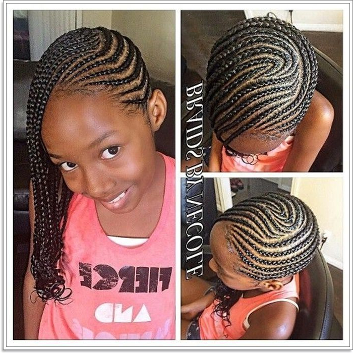 103 Adorable Braid Hairstyles For Kids Within 2018 Angled Cornrows Hairstyles With Braided Parts (View 7 of 25)