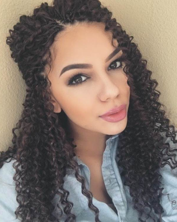 106 Crochet Braids That Gives You A Quirky Glance Inside Recent Half Up Buns Yarn Braid Hairstyles (View 15 of 25)